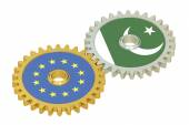 EU and Pakistan flags on a gears, 3D rendering