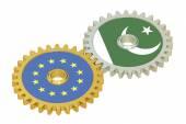 Európai Unió és Pakisztán zászlók a fogaskerekek, 3d-leképezés