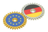 EU and Germany flags on a gears, 3D rendering