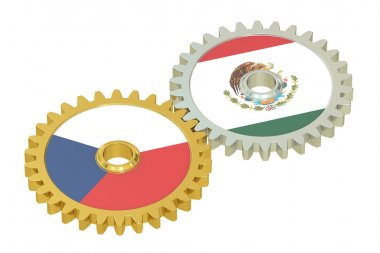 Czech Republic and Mexico flags on a gears, 3D rendering