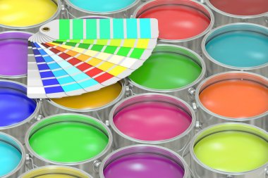 Paint cans background with pantone color palette guide. 3D rende