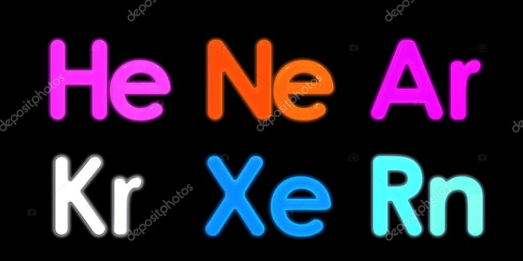 Xenon Neon Argon Krypton Radon Helium Element Symbol 3d Re