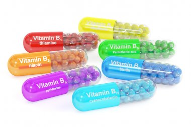 Set of vitamin capsules B1, B2, B3, B5, B6, B7, B12. 3D renderin