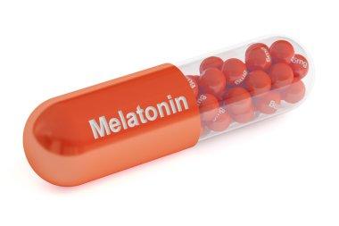 Melatonin capsule, 3D rendering
