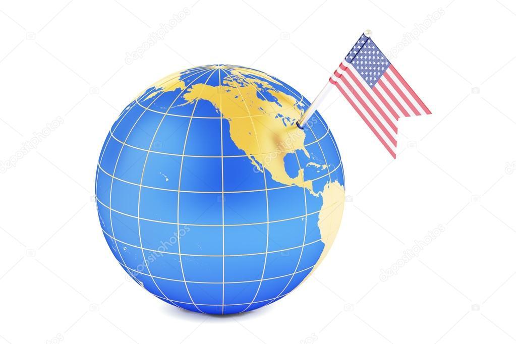 USA Pin Flag On Globe Map D Rendering Stock Photo Alexlmx - Usa globe map