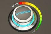 Pozor knoflík, max úroveň pozornosti. 3D vykreslování