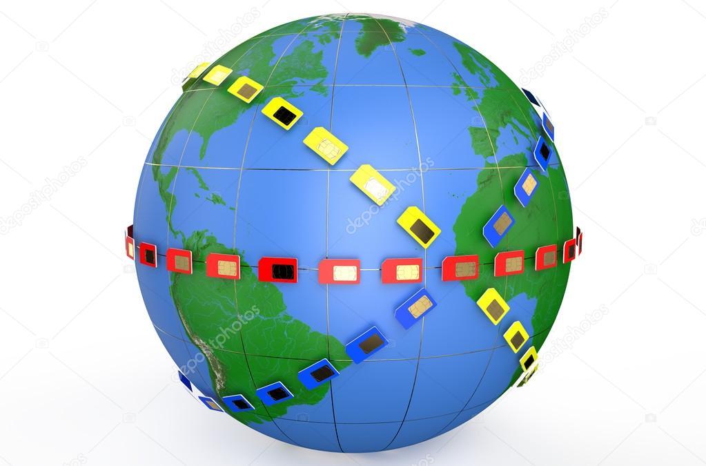Erde Karte Rund.Sim Karte Rund Um Den Erdball Erde Stockfoto Alexlmx 66910293