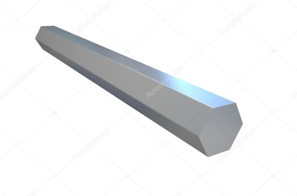 Shiny hexagon metal bar