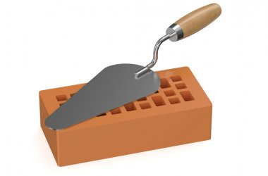 construction trowel with brick