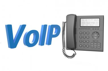 VoIP concept with IP phone