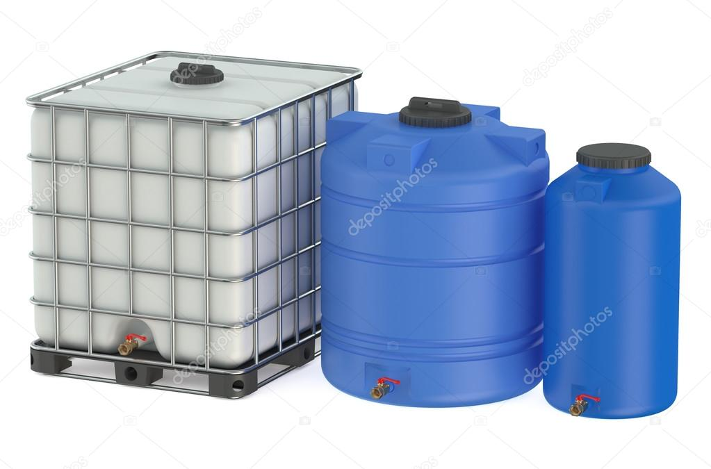 group of plastic water tanks stock photo alexlmx 76924227