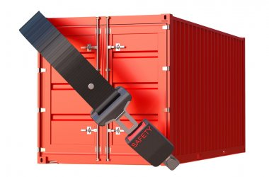 container with safety belt, safety delivery and insurance concep