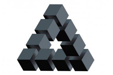 Impossible triangle optical illusion