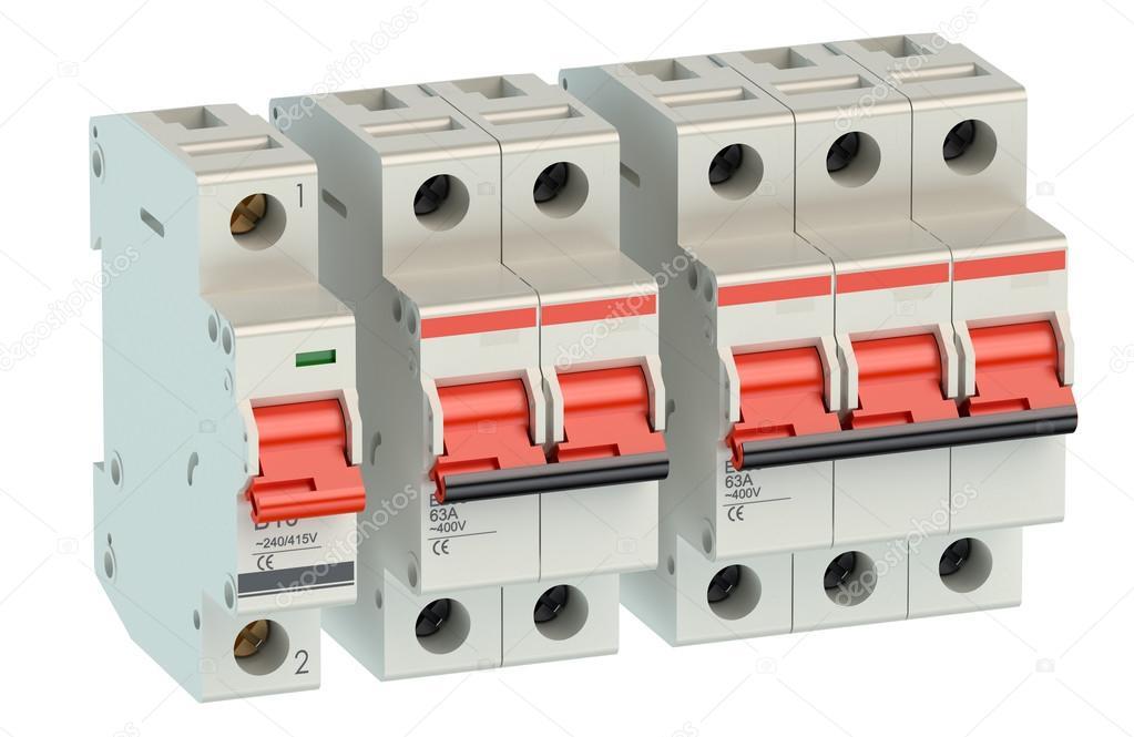 Satz von automatische Strom-Schalter — Stockfoto © alexlmx #82279192