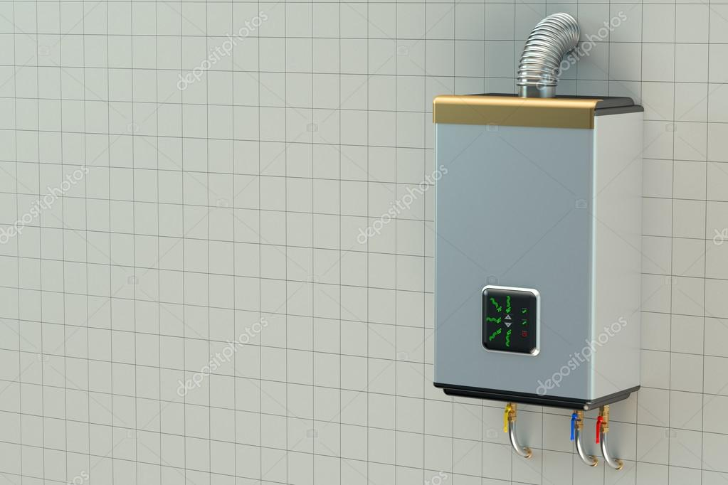 Home gas boiler, water heater — Stock Photo © alexlmx #84861074