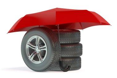 car wheels under umbrella