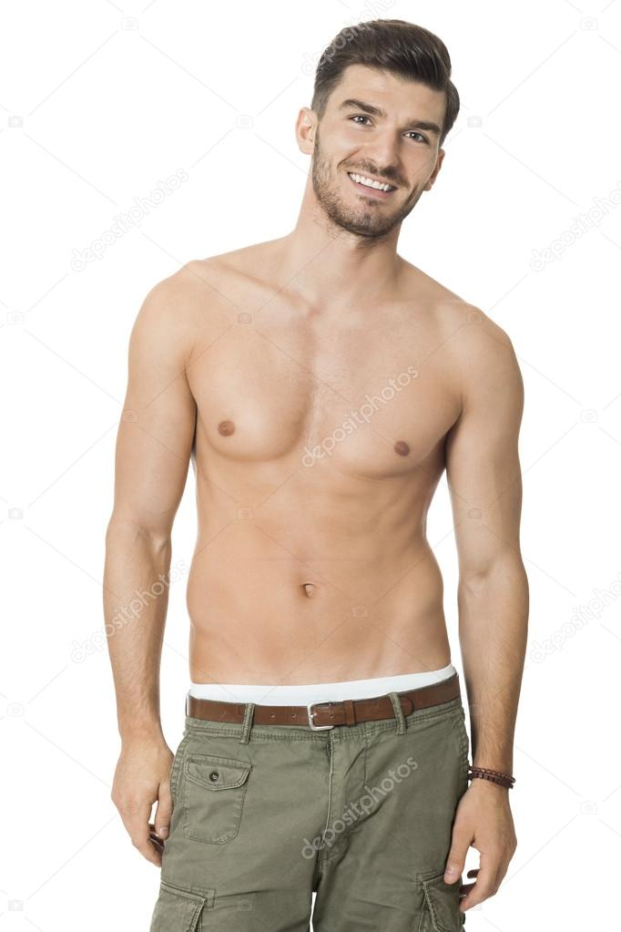 Naked Torso Male Bodybuilder Athlete With Long Blond Hair
