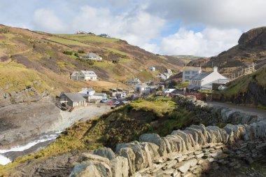 Trebarwith Strand North Cornwall England UK coast village between Tintagel and Port Isaac with stone wall and path