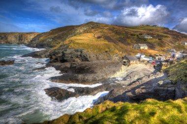 Trebarwith Strand Cornwall England UK coastal village between Tintagel and Port Isaac in colourful HDR