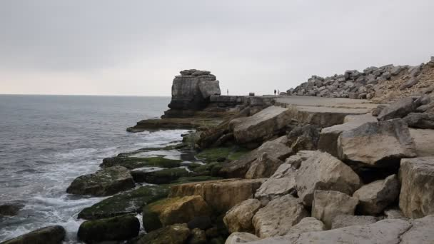 Fels-Stack auf die Küste von Portland Bill Lighthouse auf der Isle of Portland Dorset England Uk im Süden der Insel