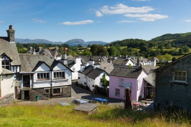 Hawkshead village the Lake District England uk on a beautiful sunny summer day popular tourist village