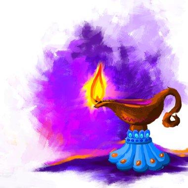 Vector illustration of holy diya for Diwali festival stock vector