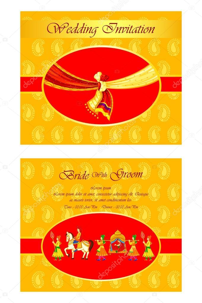 Indian Wedding Invitation Card Stock Vector C Stockshoppe 61543579