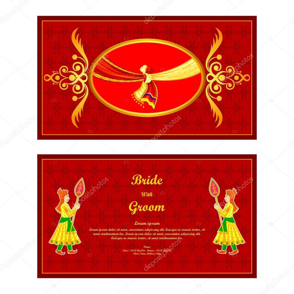 Indian wedding invitation card — Stock Vector © stockshoppe #61544559