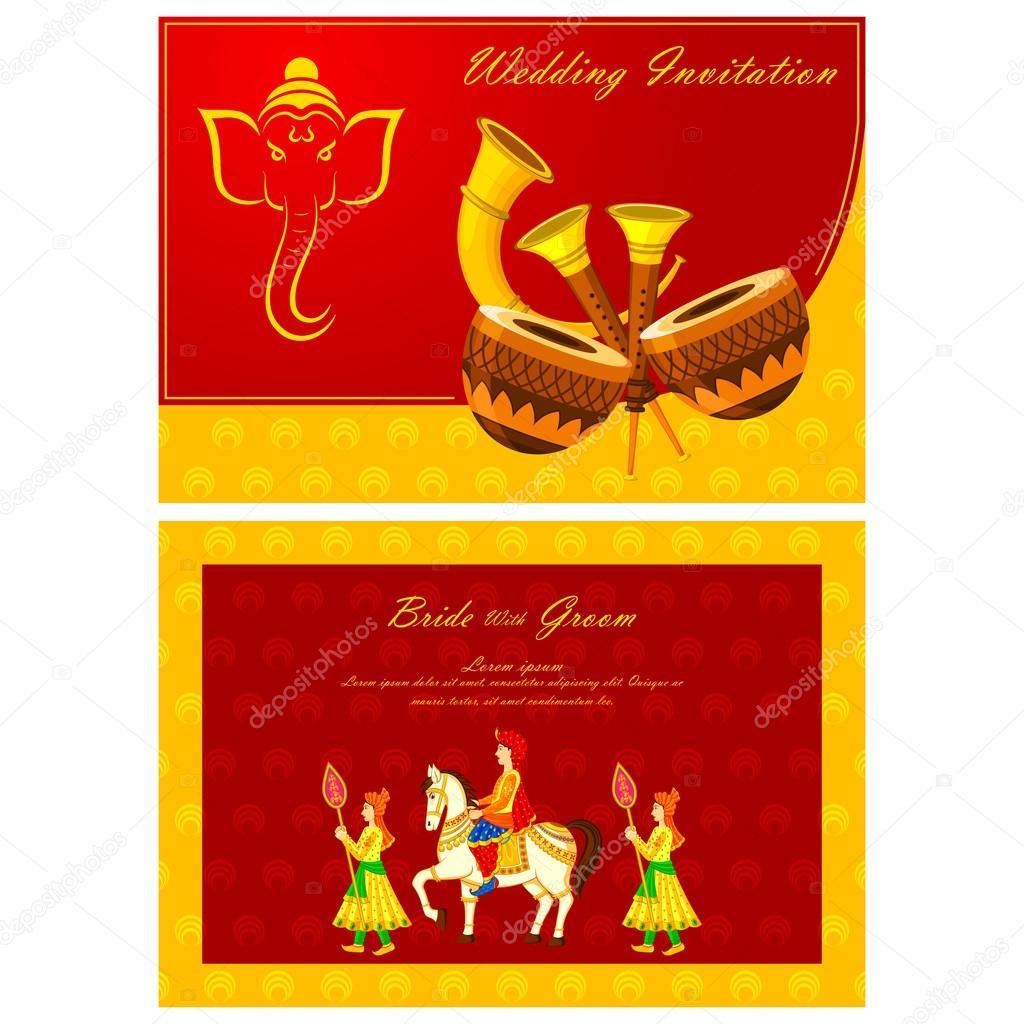 Indian wedding invitation card — Stock Vector © stockshoppe #61544845