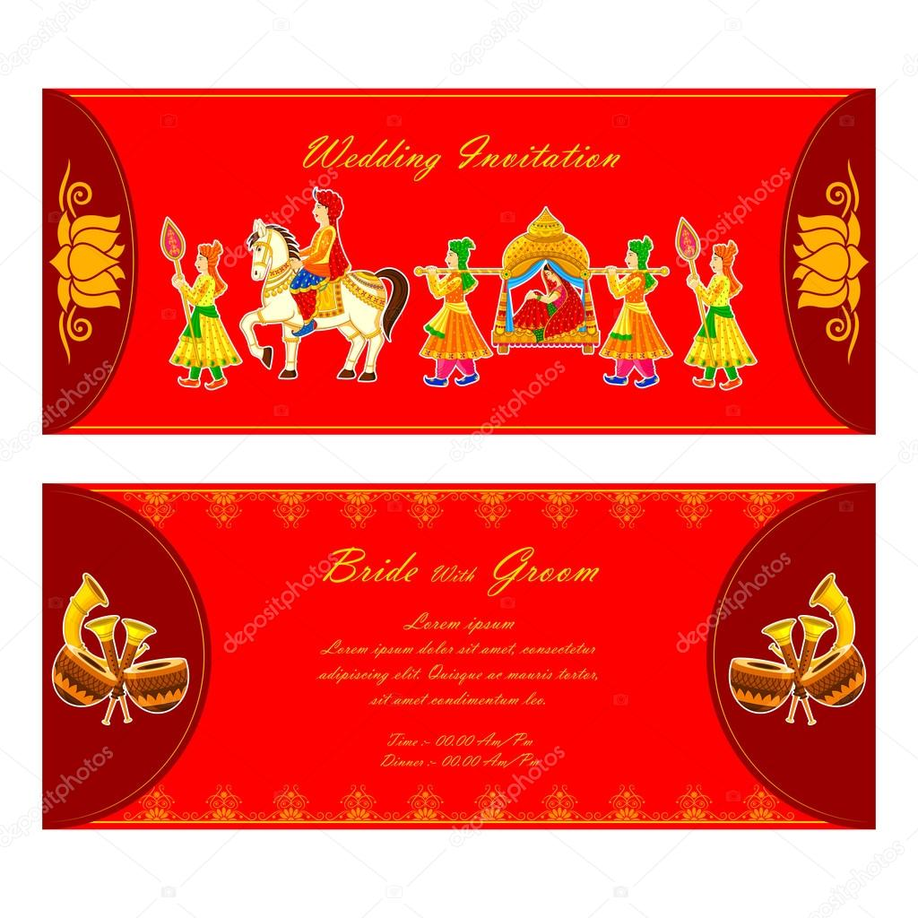 Indian wedding invitation card stock vector stockshoppe 61545181 indian wedding invitation card stock vector stopboris Images