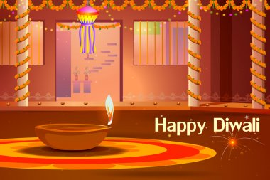 Vector illustration of Indian house decorated with diya in Diwali night stock vector