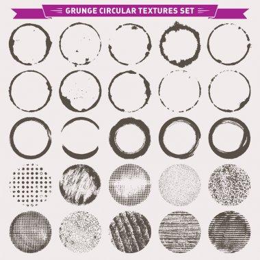 Grunge Circular Texture Backgrounds Frames 2 Vector