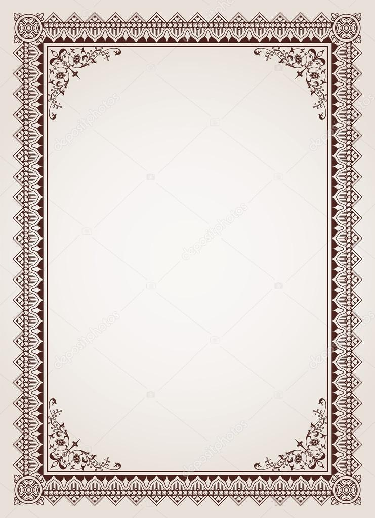 Decorative border frame certificate template vector stock vector decorative border frame background certificate template vector vector by digiselector yadclub Image collections
