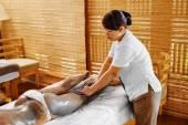 Body Care. Spa Treatment. Woman Mask Beauty Salon. Skin Therapy