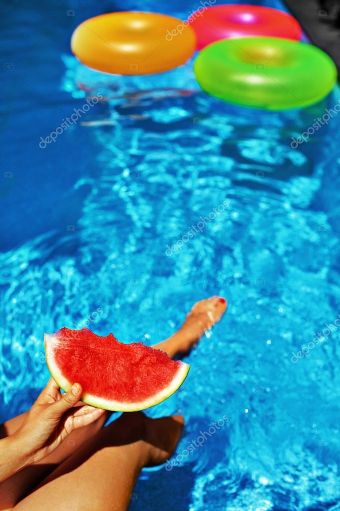 Summer Vacation. Summertime Fun. Watermelon By Swimming