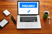 Computer Technology. Freelance Work Concept. Laptop, Notebook