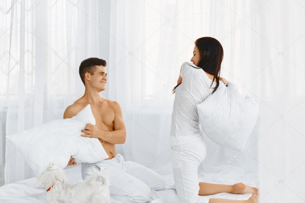 Pillow Fight Couple In Love Stock Photo C Puhhha 87336836