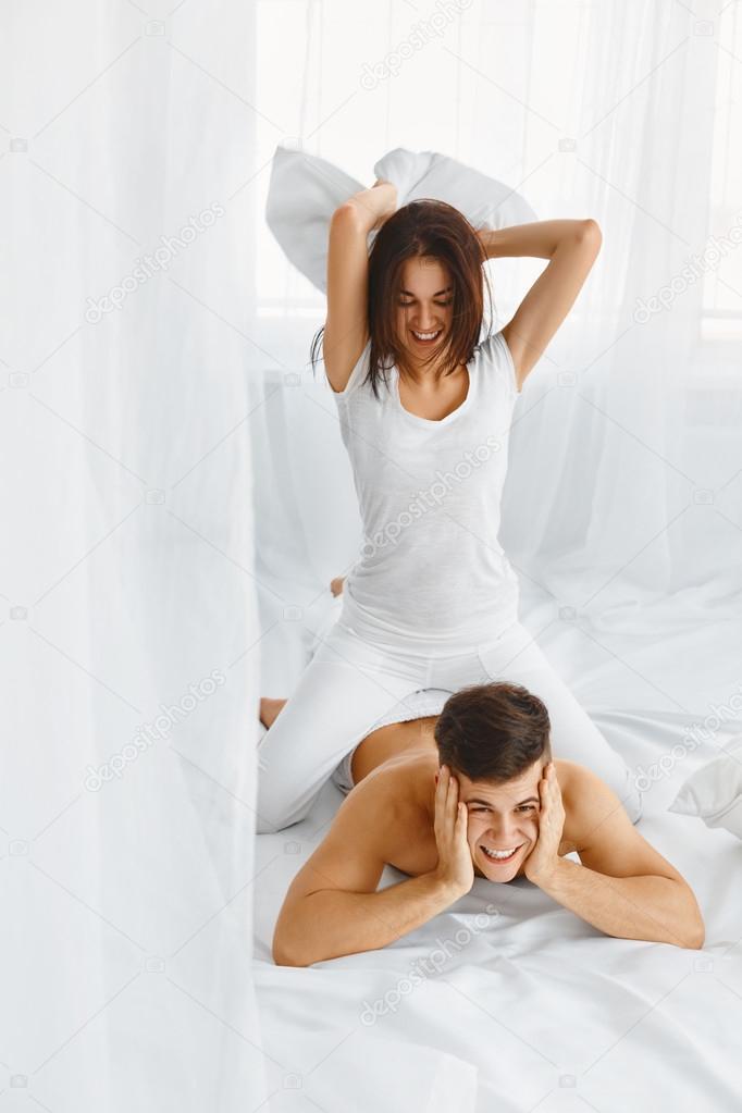 Pillow Fight Couple Having Fun Stock Photo C Puhhha 87336908