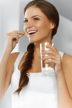 Vitamins. Healthy Diet. Healthy Eating, Lifestyle. Girl With Cod