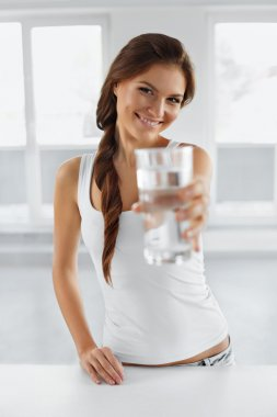 Diet Concept. Happy Healthy Woman With Glass Of Water. Drinks. L