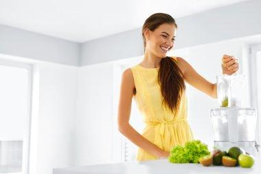 Healthy Organic Food Preparation. Green Juice. Woman Detox Diet. Vegetarian