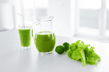 Green Juice. Healthy Eating. Detox Smoothie. Food, Diet Concept.