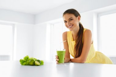 Healthy Meal. Woman Drinking Detox Smoothie. Lifestyle, Food. Drink Juice.
