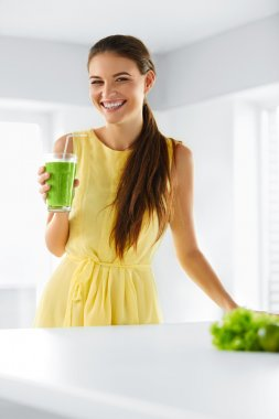 Nutrition. Healthy Eating Smiling Woman Holding Glass Of Fresh Raw Green Detox Vegetable Juice. Healthy Lifestyle, Vegetarian Diet And Meal. Drink Smoothie. stock vector