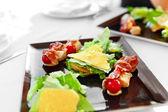 Healthy Food. Caesar Salad On Plate In Restaurant. Meal, Diet