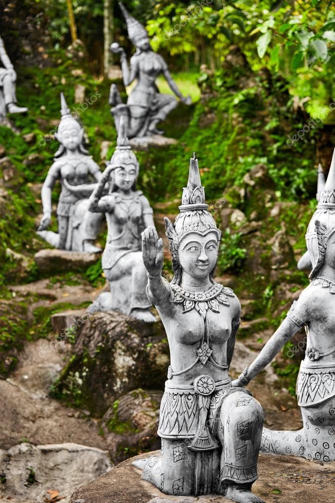 Magic Secret Buddha Garden Statues In Samui. Travel, T U2014 Stock Photo
