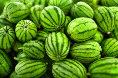 Fruit Background. Organic Watermelons In Farmers Market. Nutriti