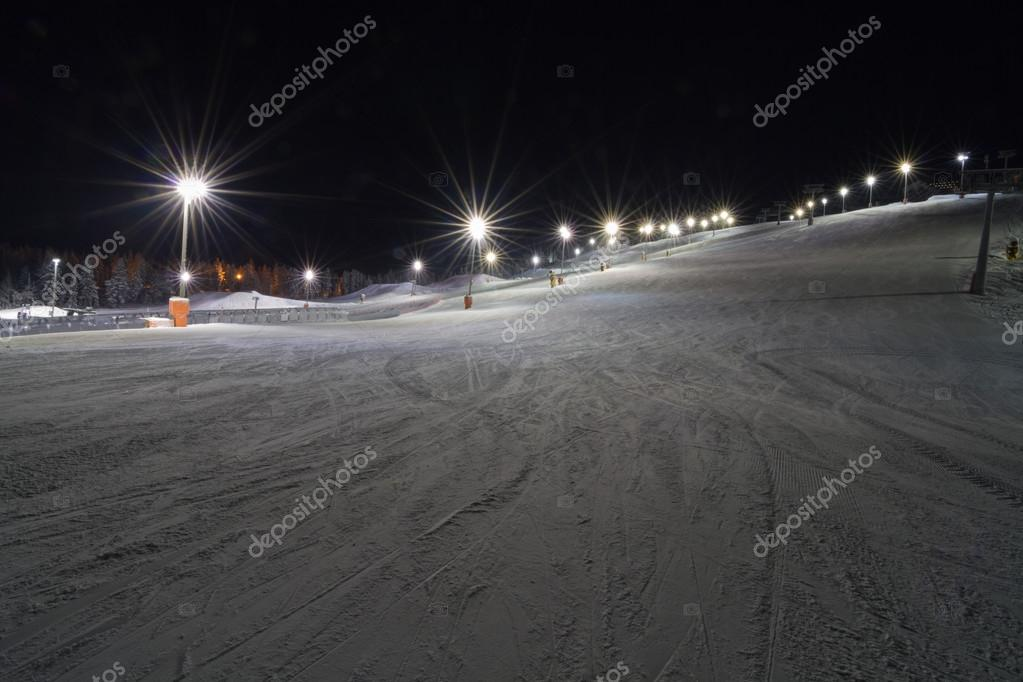 Skiing at night