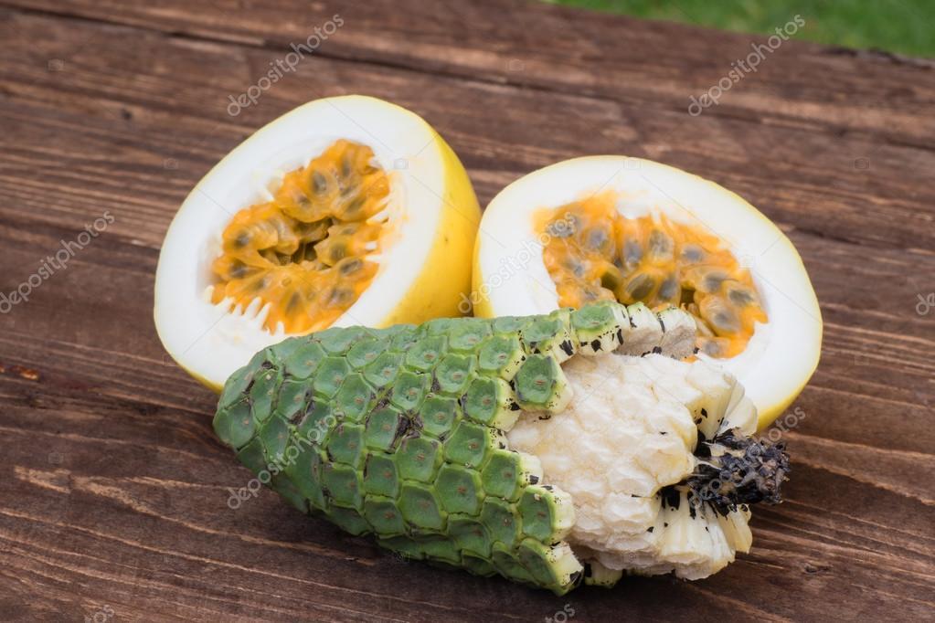 Exotic fruits ananas-banana and maracuja