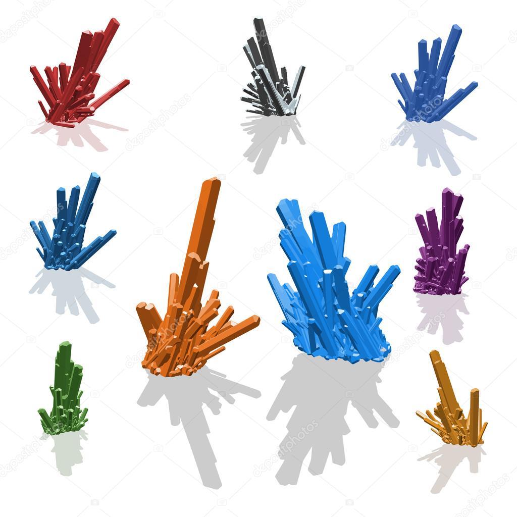 Cristales brillantes brillantes coloridos pack conjunto. Rojo, verde,  púrpura, naranja, esmeralda, rubí, turmalina, cuarzo, diamante aislado —  Vector de ... 3e7809a964